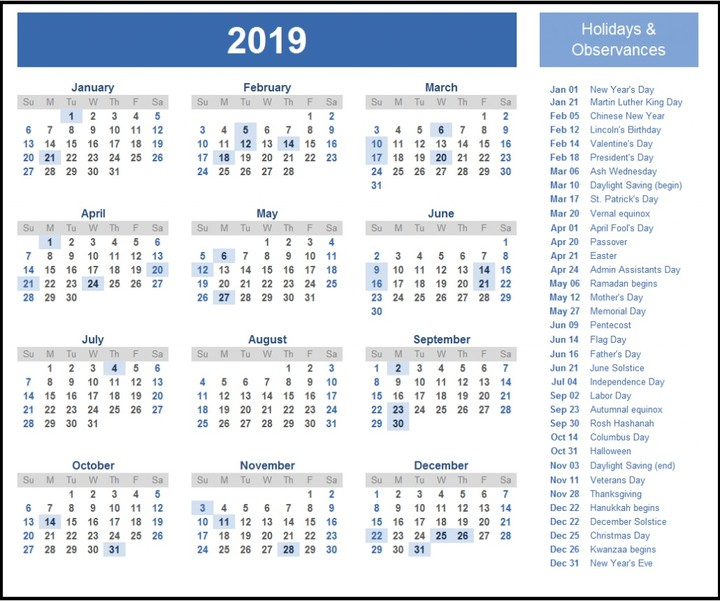 2019 calendar wallpaper one page free download