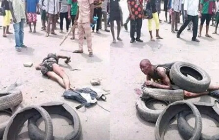 Bildergebnis für Man Burnt To Death For Stealing Battery In Cross Rivers (Photos)