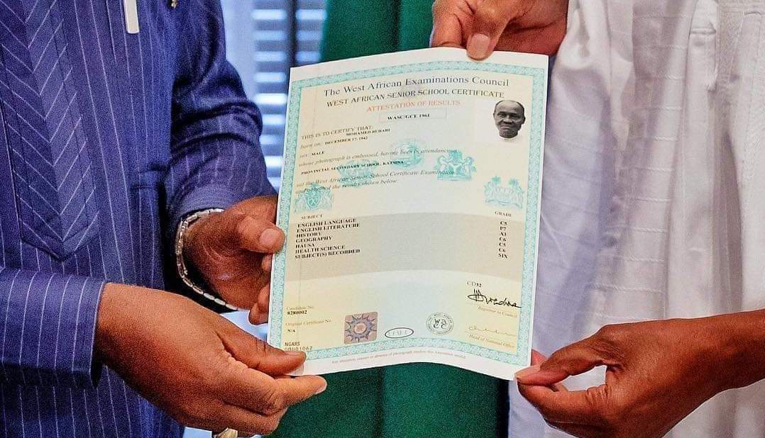 Image result for See Channels TV Report About Buhari's WAEC Result