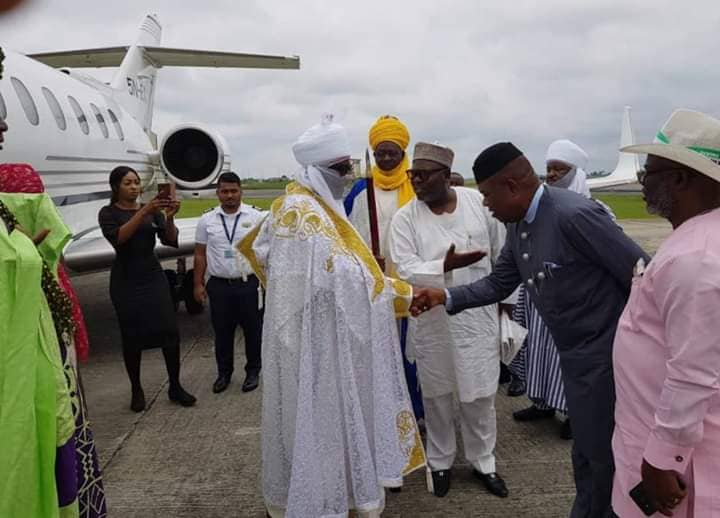 Sanusi II arrives Uyo on a solidarity visit to Governor Udom
