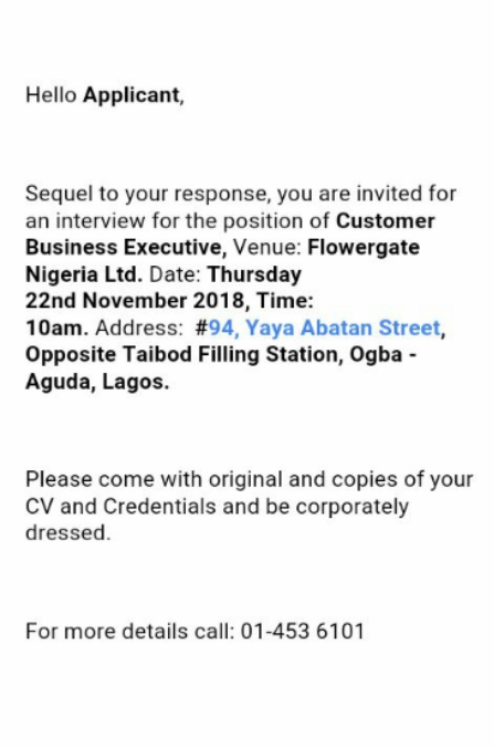 Has Anybody Gone For The Job Interview At Flower Gate Limited