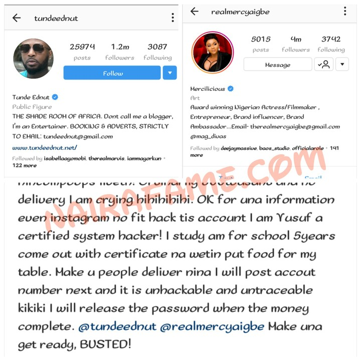 Mercy Aigbe And Tundeednut Is Next Instagram Hacker Yusuf Says Photos Celebrities Nigeria Tunde ednut has revealed his hatred for wizkid, which came as a surprise to many considering his success. mercy aigbe and tundeednut is next