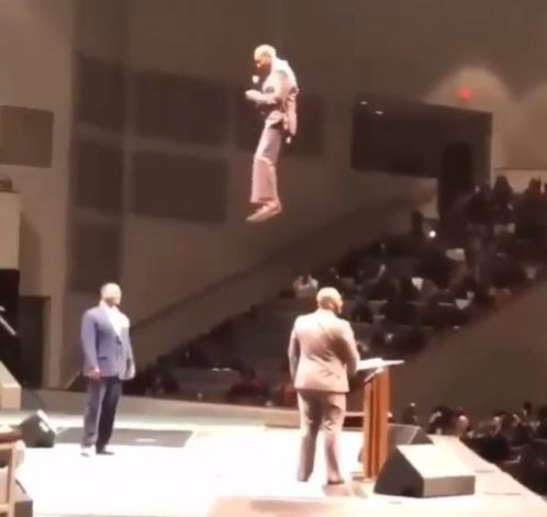 Pastor Orr Shocks His Congregation As He Flies Into Church During Service