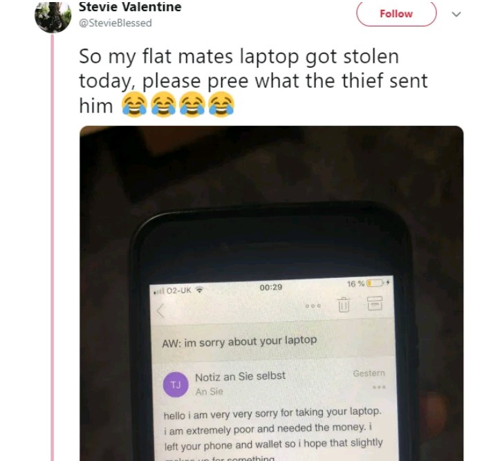 See The Viral Mail A Thief Sent A University Student After Stealing His Laptop