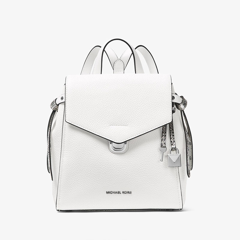 76753e68c4bbe4 More styles please click : http://www.mkoutletfire.com/michael-michael-kors- bristol-small-leather-backpack-white.html