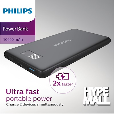 PHILIPS 10400mAh USB Portable Charger,1 USB-A Port,Integrated Micro USB Cable, Battery Pack, Ultra Thin,2.4A, Sleek Black Finish, High Speed Battery Bank, ...