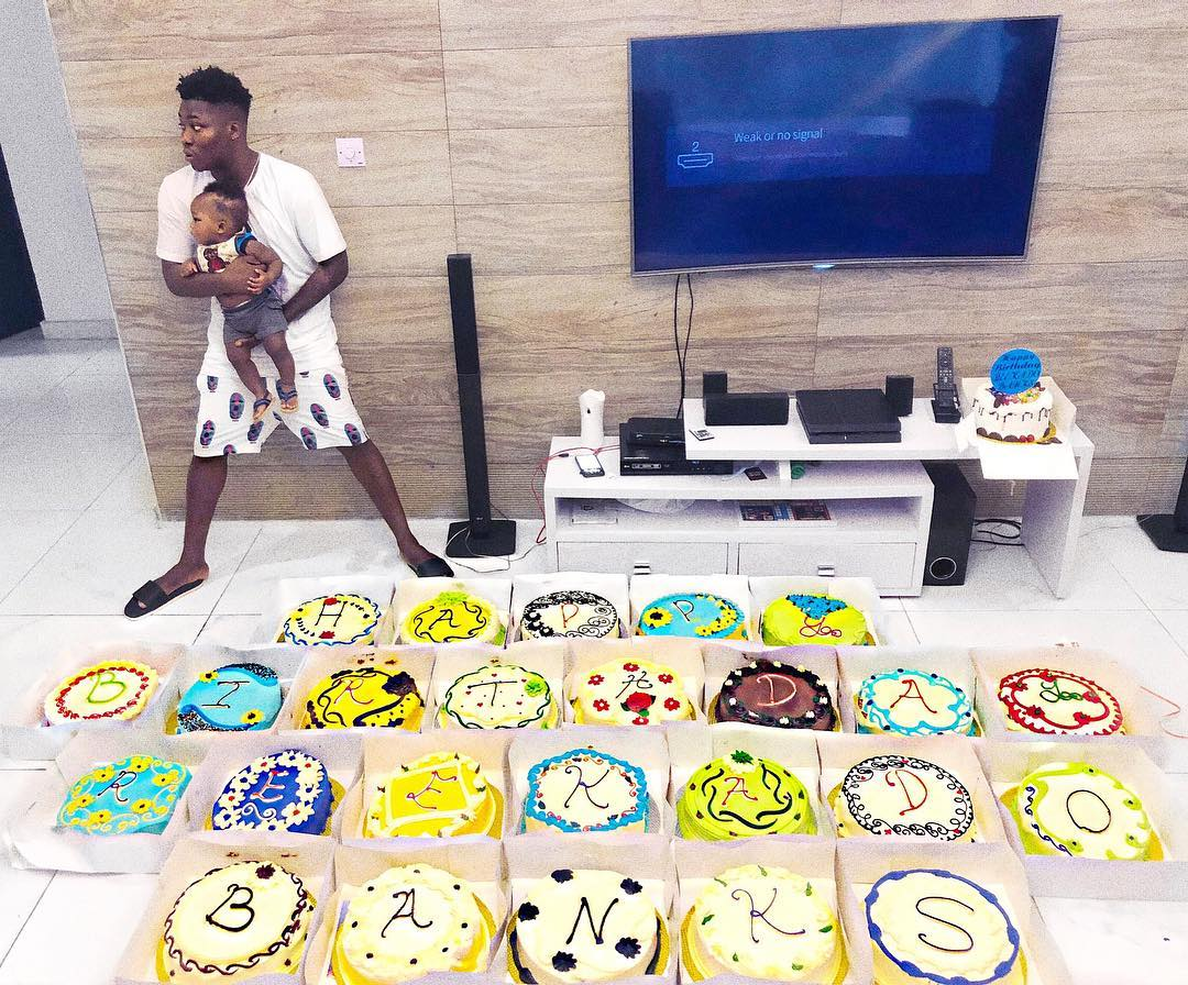 Reekado Banks Brother Gives Him 25 Customised Cakes For His 25th