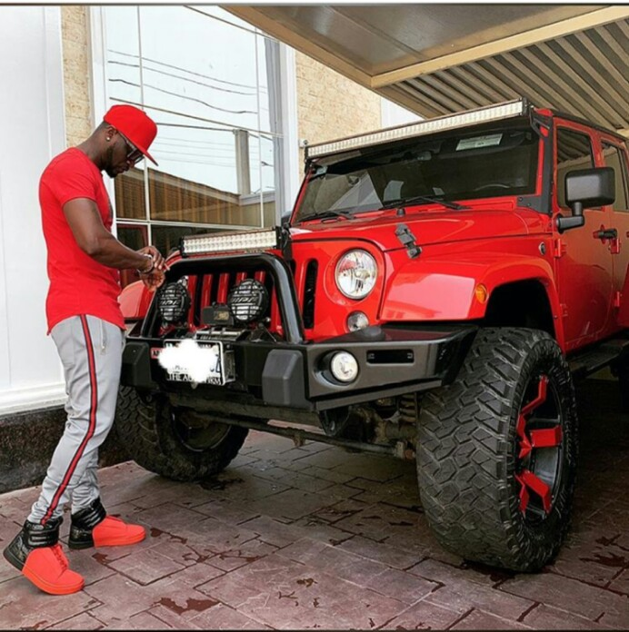 Peter Okoye In Matching Outfit With His Jeep