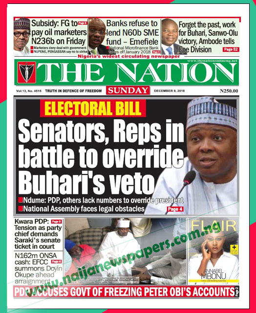 Nigerian Newspapers Front Page Headlines, Sunday 9th ...
