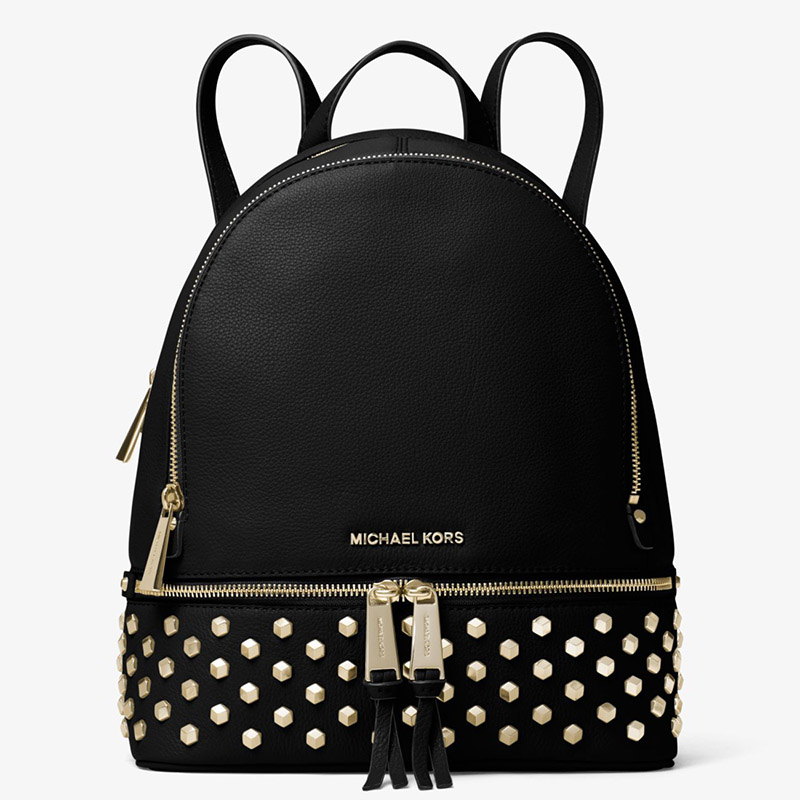 7c7fa1a9512c More styles please click : http://www.mkoutletfire.com/michael-michael-kors- rhea-large-studded-leather-backpack-black-80.html