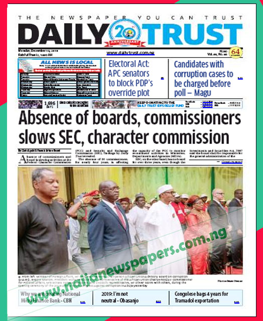 Nigerian Newspapers Front Page Headlines, Monday 10th