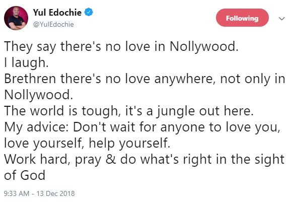 Yul Edochie Reacts To 'Lack Of Love' In Nollywood