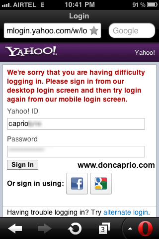 Yahoo mail error 999