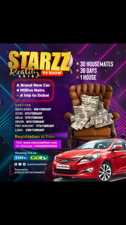 Starzz Reality TV Show Audition Dates and Venues 2019 1