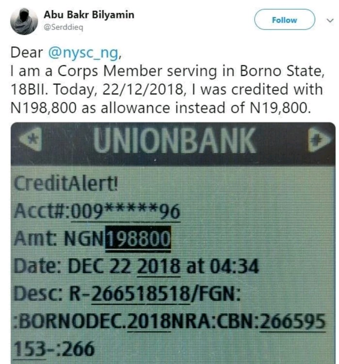 A Corper Was Paid N198,800 Instead Of N19,800 And Then He Did This