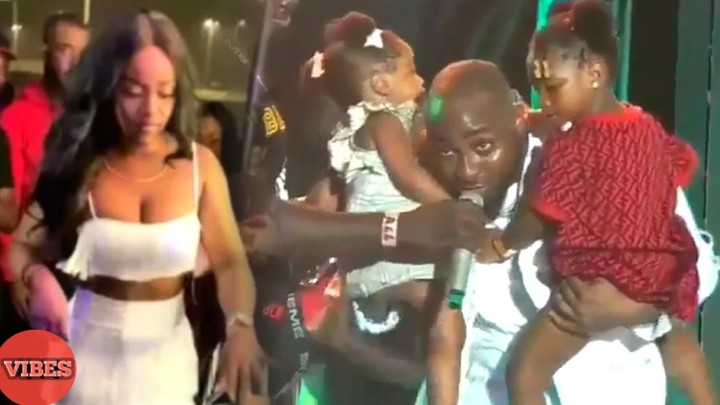 Image result for davido brings chioma and his daughters to his concert