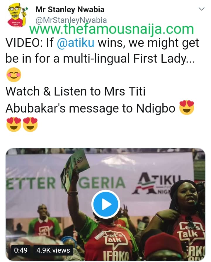 8457872_img20190108wa0032_jpega2c59a77f8126a422c4e1fb7e1c60f48 Atiku's Wife, Titi Speaks Igbo Language As She Campaigns For Husband. See Reactions