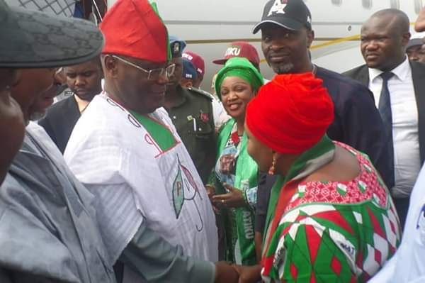 2019: Fayose Receives Atiku At Akure Airport For Southwest PDP Campaign [Photos]