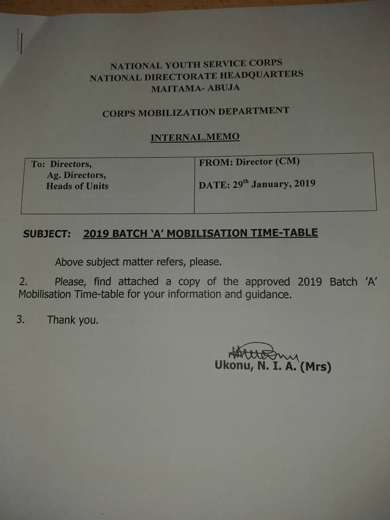 NYSC 2019 Batch A Mobilization Timetable Released 1