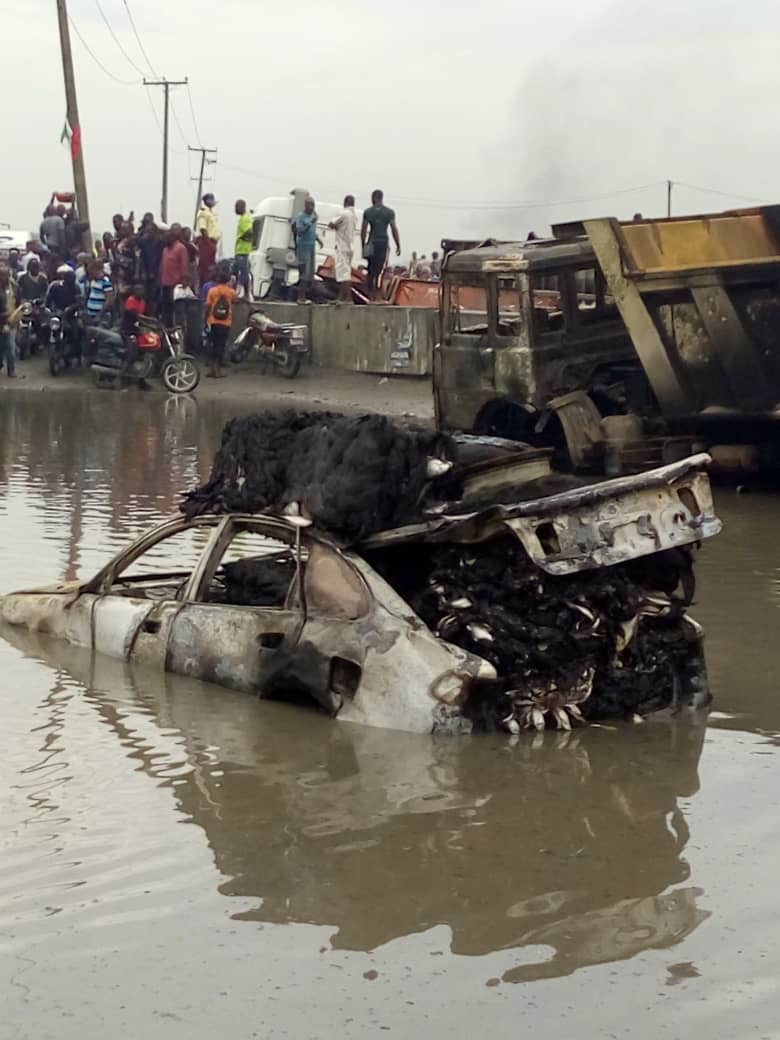 BREAKING: Tanker Explodes On Lagos Badagry Express Road