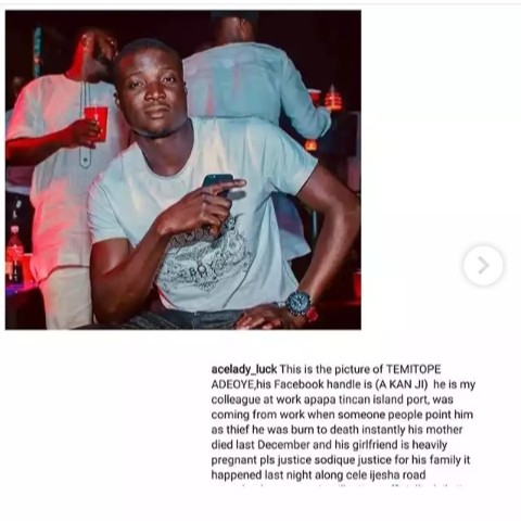 Image result for Man falsely accused of being a thief stabbed and burnt to death in Lagos