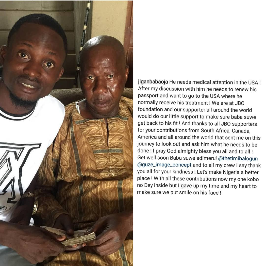 Jigan Babaoja Gives Baba Suwe Money For His Treatment