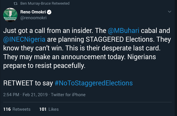INEC Set To Announce Staggered Elections - Reno Omokri