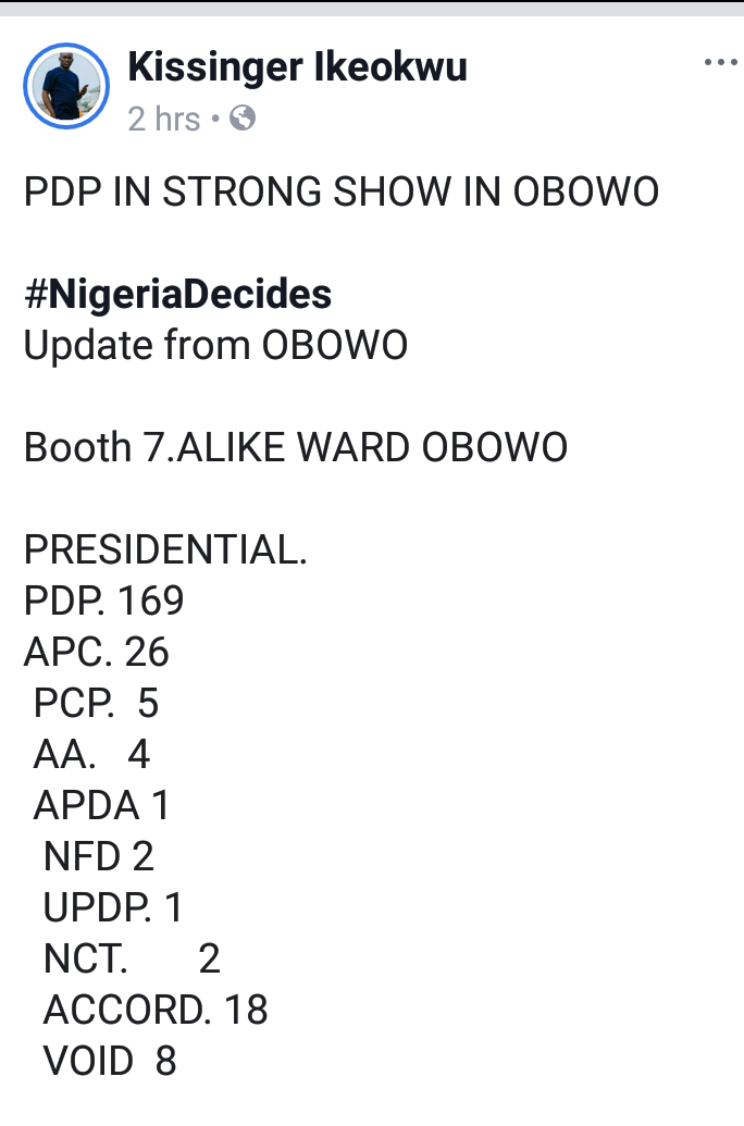 Presidential And Senatorial Results From Imo State