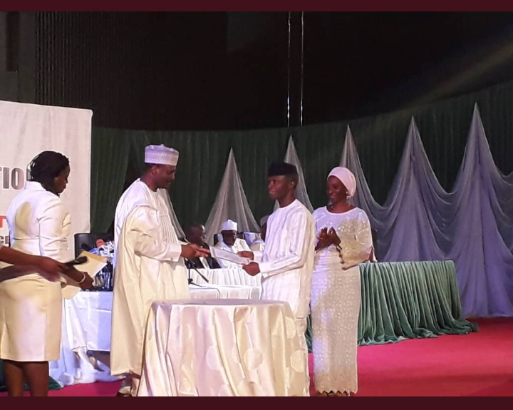 Image result for INEC presents Buhari, Osinbajo with certificates of return