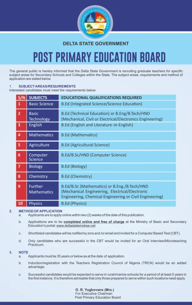 Vacancies At Delta State Post Primary Education Board - Jobs