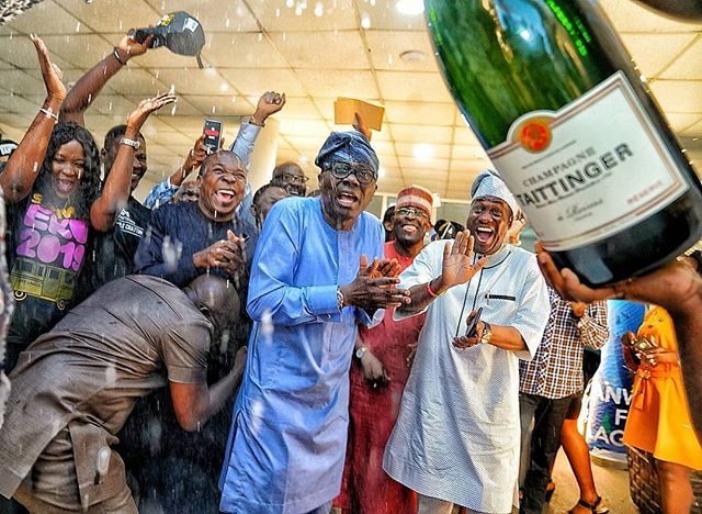 Caption! Sanwo-Olu's Face During Election Win Celebration (Photo)