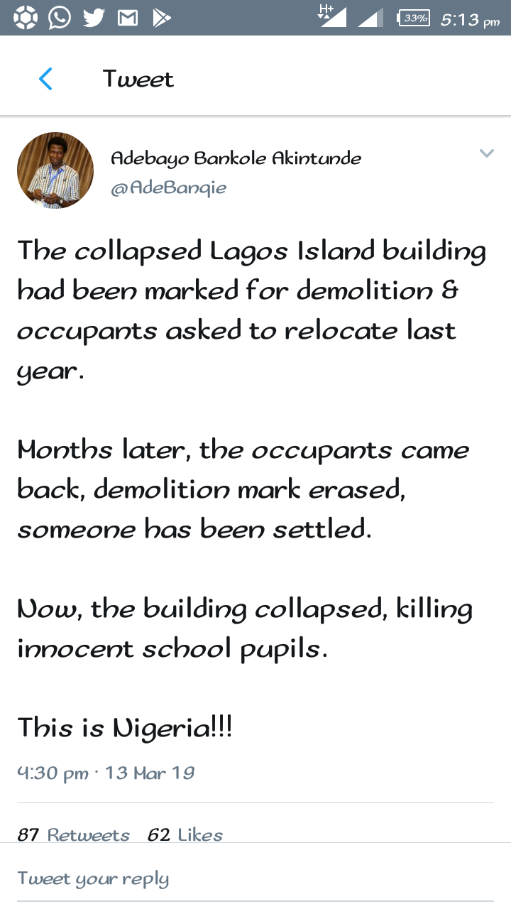 """The Collapsed Lagos Island Building Had Been Marked For Demolition Last Year"""