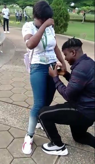 FUNAAB Finalist Gets Proposed To By Her Boyfriend During Her Sign-out