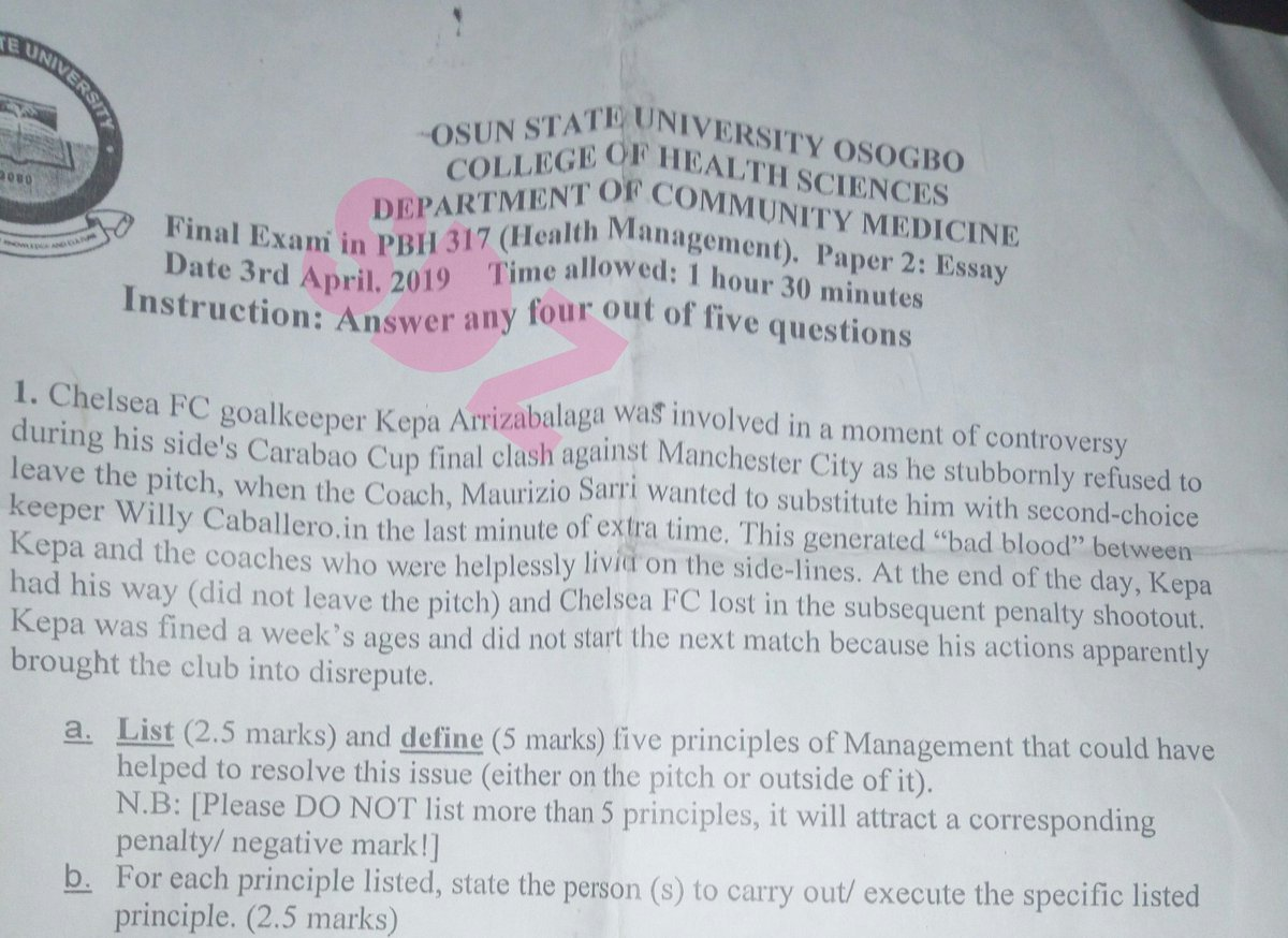 Osun State University Uses Chelsea And Man City Match As An Exam Question