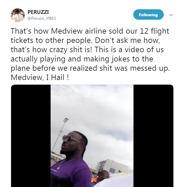 Peruzzi Calls Out Medview Airline For Selling 12 Flight Tickets Meant For Him And Team Members