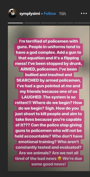 Police Brutality: I've Had A Gun Pointed At Me By The Police - Simi