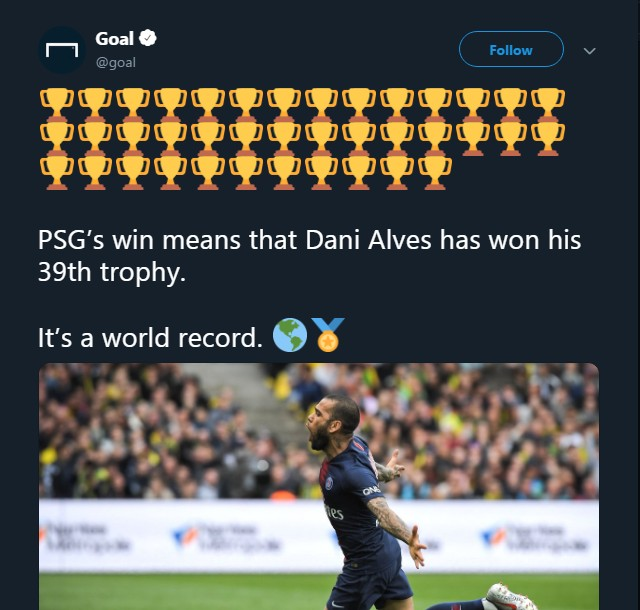 Dani Alves Becomes World Most Decorated Player