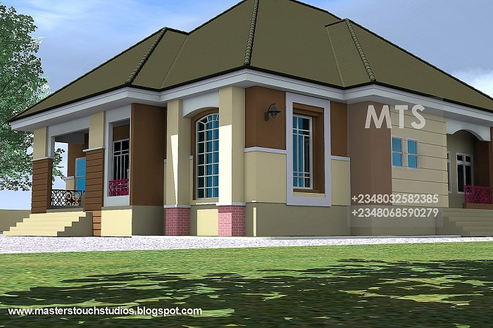 Detailed architectural drawings constructions renderings for 4 bedroom bungalow architectural design
