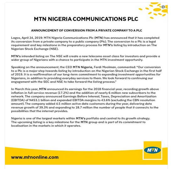 MTN Nigeria Converts To A Public Company Ahead Of Listing On