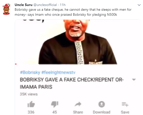 Bobrisky Gave Us A Fake Cheque - Imam - Celebrities - Nigeria