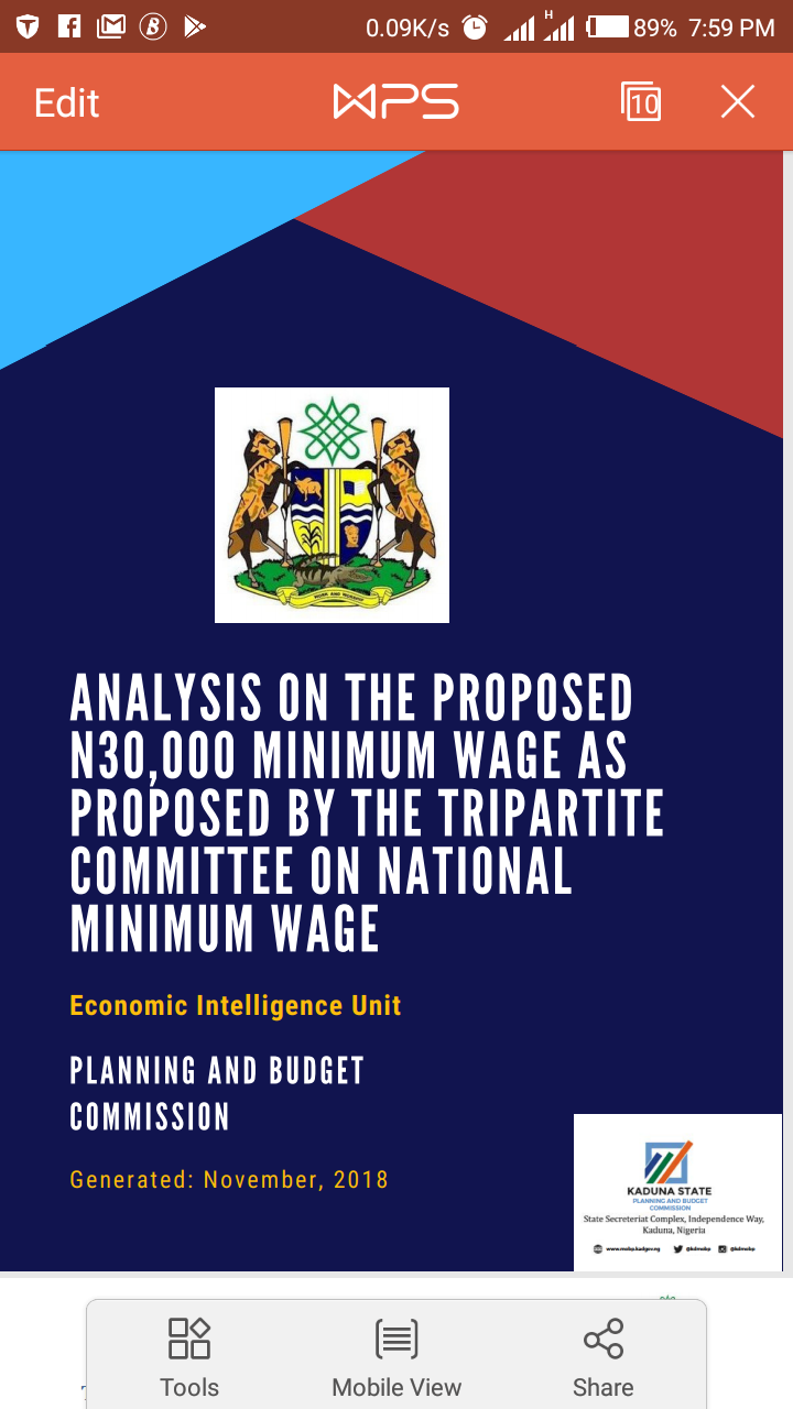 Is This The Analysis Of The New Minimum Wage For Kaduna