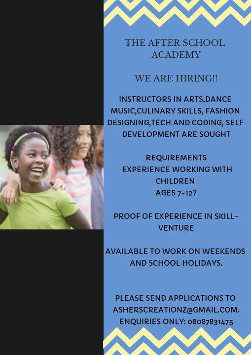 Vacancies For Instructors For The After School Academy! - Jobs