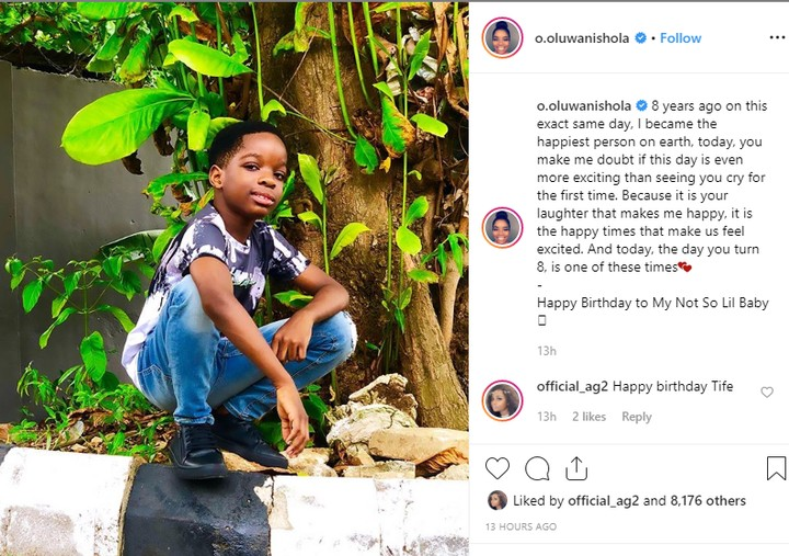 Boluwatife Balogun Celebrates 8th Birthday, Shola Ogudu Pens Down Heartfelt Post