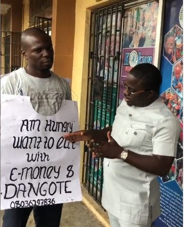 Man Who Wants To Dine With E-money And Dangote Receives N20k And Dangote Product