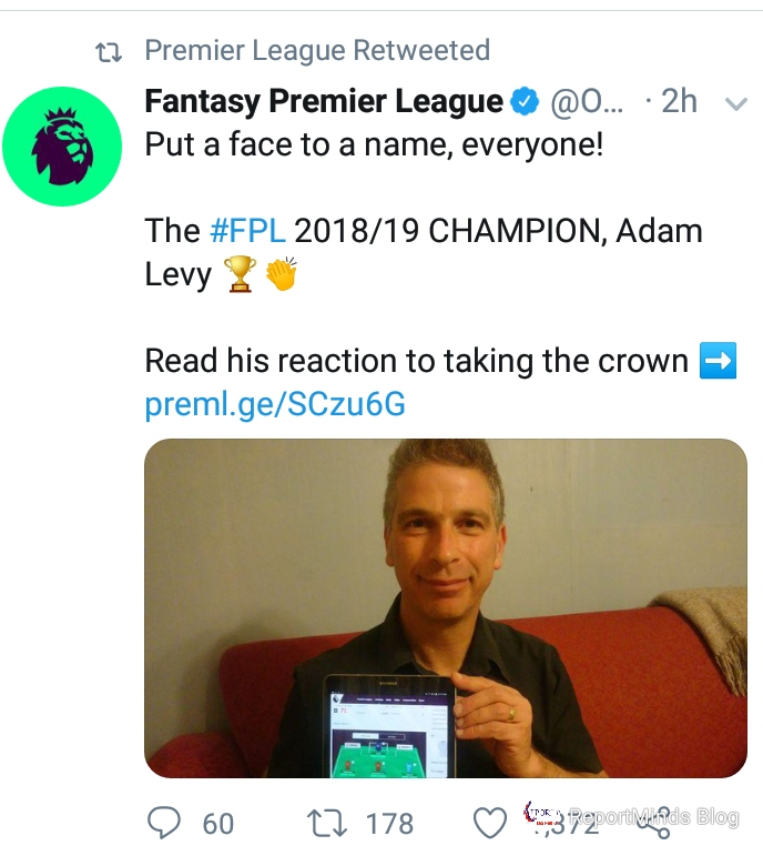 Adam Levy Wins 2018/19 Fantasy Premier League