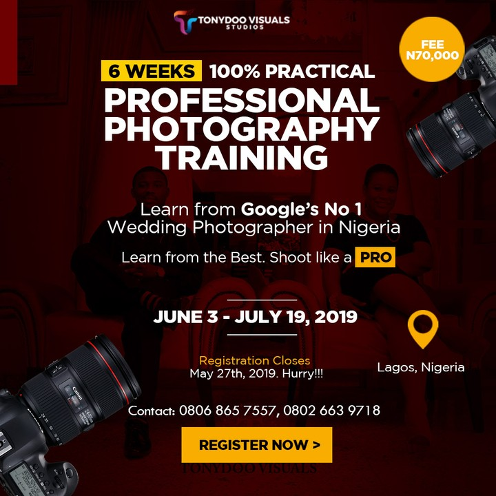 Studio Lighting Course: Attend Photography Courses In Lagos Nigeria This June