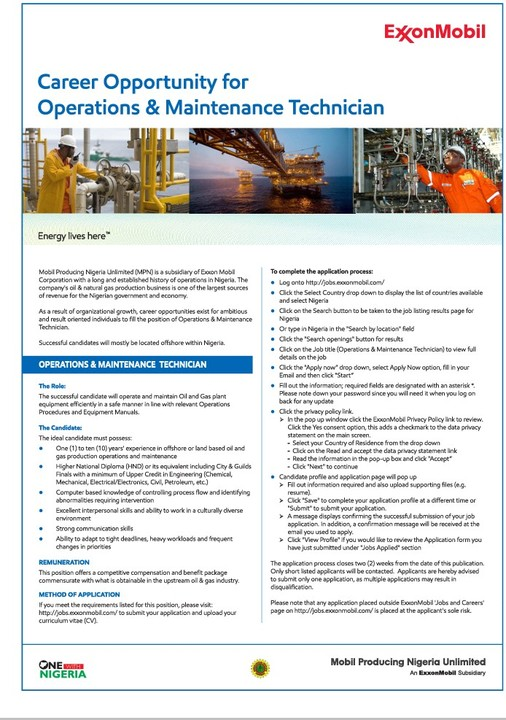 ExxonMobil Recruitment for operations and maintenance
