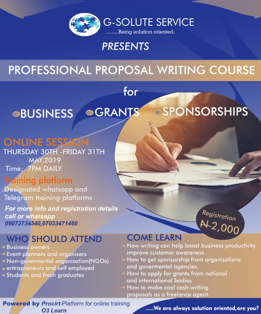 Professional Proposal Writing Course, May 2019