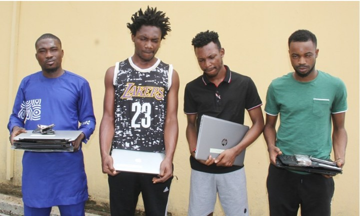 Four suspected internet fraudsters arrested in Lekki - Photos