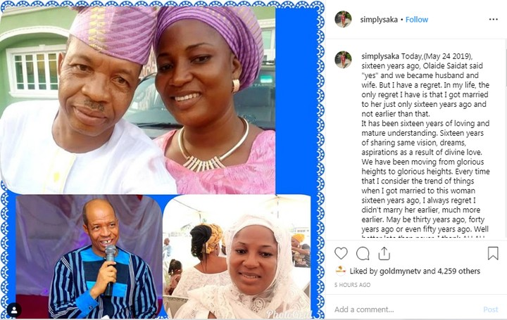 Actor Saka Shares The Only Regret He Has As He Celebrates His 16th Wedding Anniversary